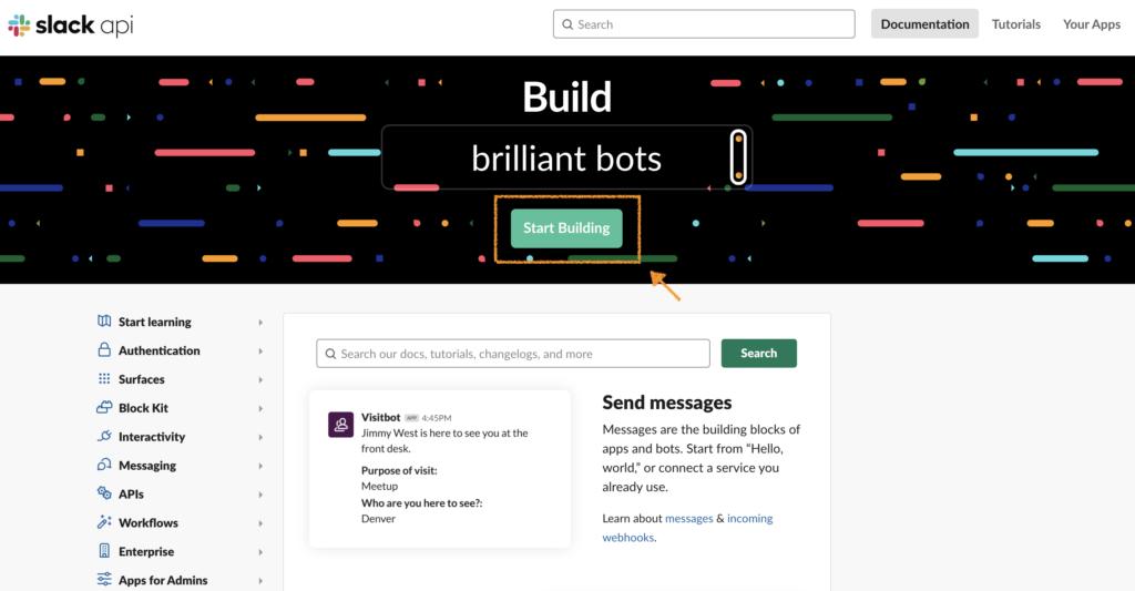 Slack APIトップページ画面